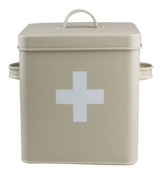 Vintage / Retro Style Metal First Aid Tin Box - Olive With White Cross NEW